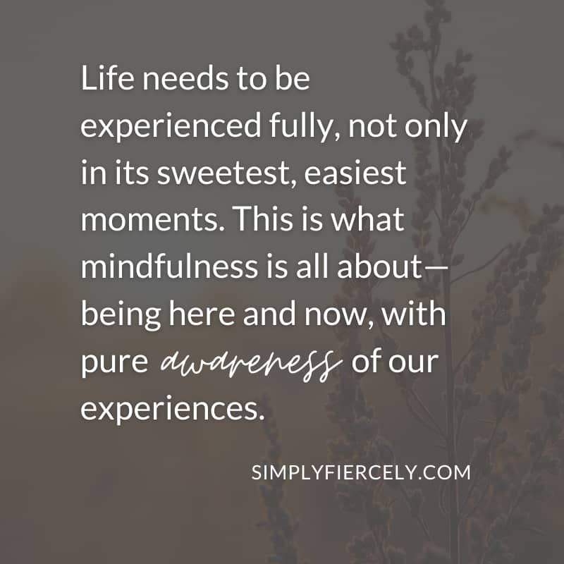 Life needs to be experienced fully, not only in its sweetest, easiest moments.   This is what mindfulness is all about—being here and now, with pure awareness of our experiences. - Simply + Fiercely