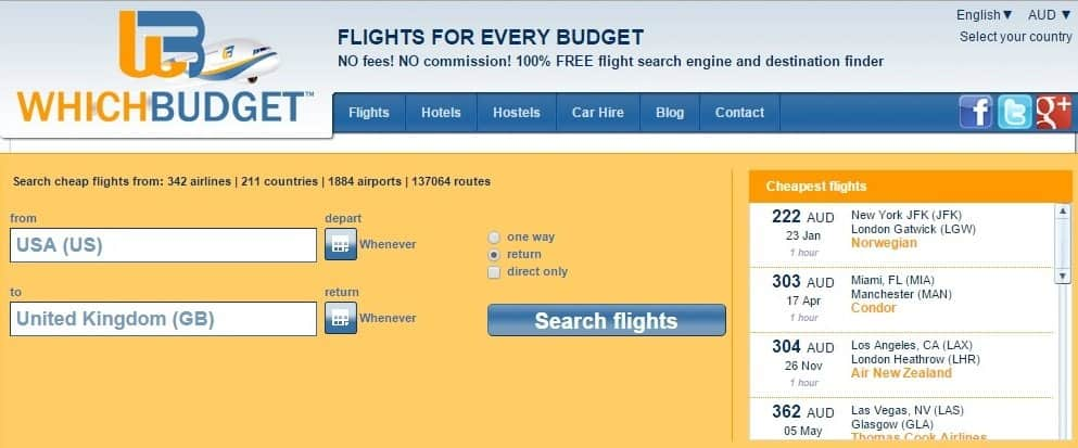 How to use whichbudget.com to find cheap round the world flights.