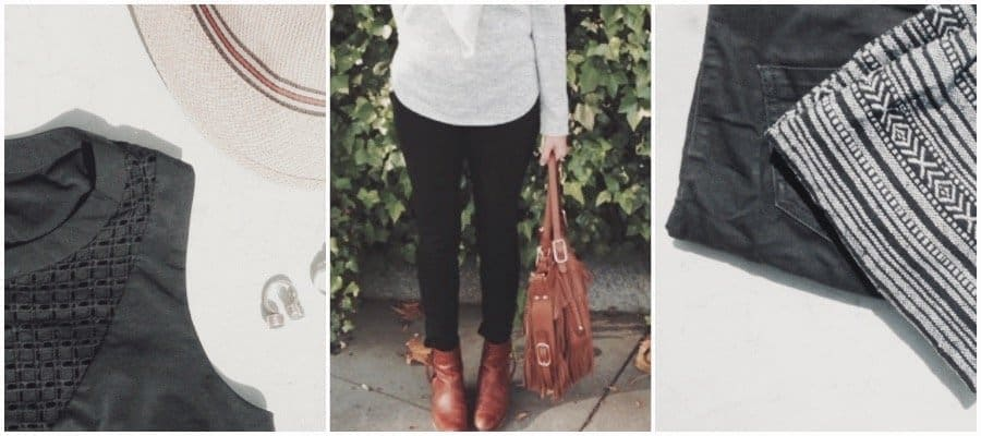 A faded collage of images including a woman in black skinny jeans, a black dress, and a tan handbag.