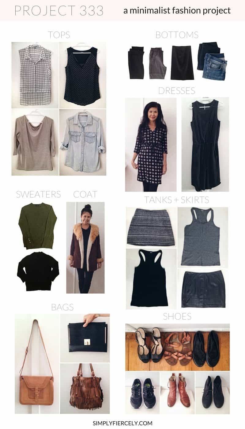 A collage of the 33 items I chose for Project 333