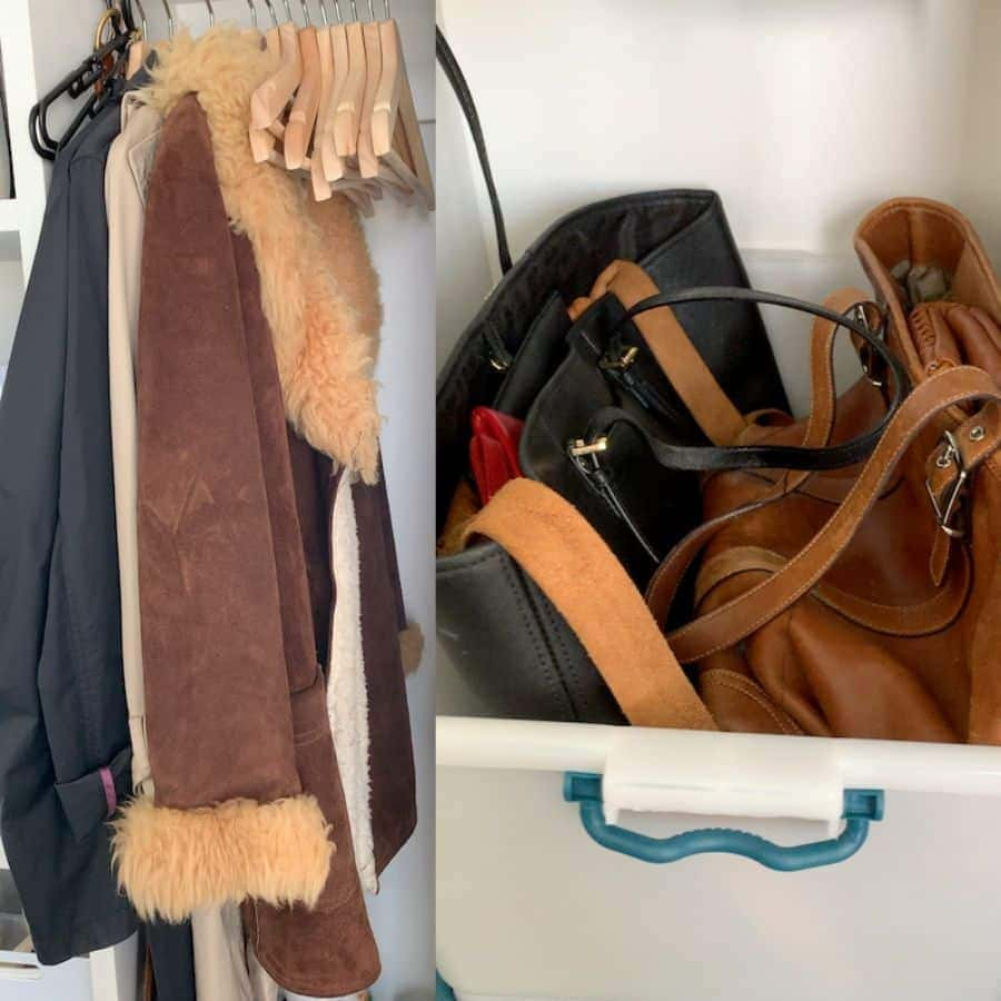 an image collage with coats in a closet and multiple handbags in a plastic tub