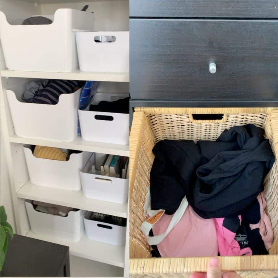 an image collage: on the left, white plastic storage tubs on shelves, on the right, a whicker basket with clothing.