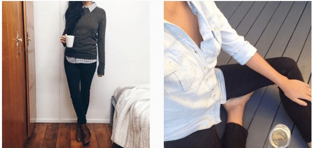 two photos: on the left is a woman with a green sweater layered over a plaid top with skinny jeans and ankle boots. on the right is a woman wearing a chambray shirt with black skinny jeans drinking a glass of wine.