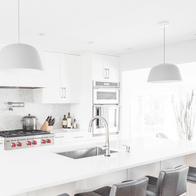 A bright and airy decluttered kitchen.