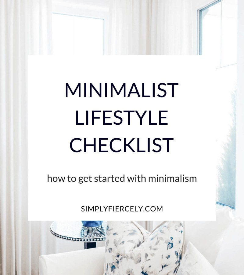 """Minimalist Lifestyle Checklist"" in a white box with a white sofa, blue lamp, and floral pillow in the background."