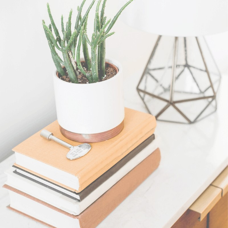 A table with a stack of books, a plant, and a lamp on top.