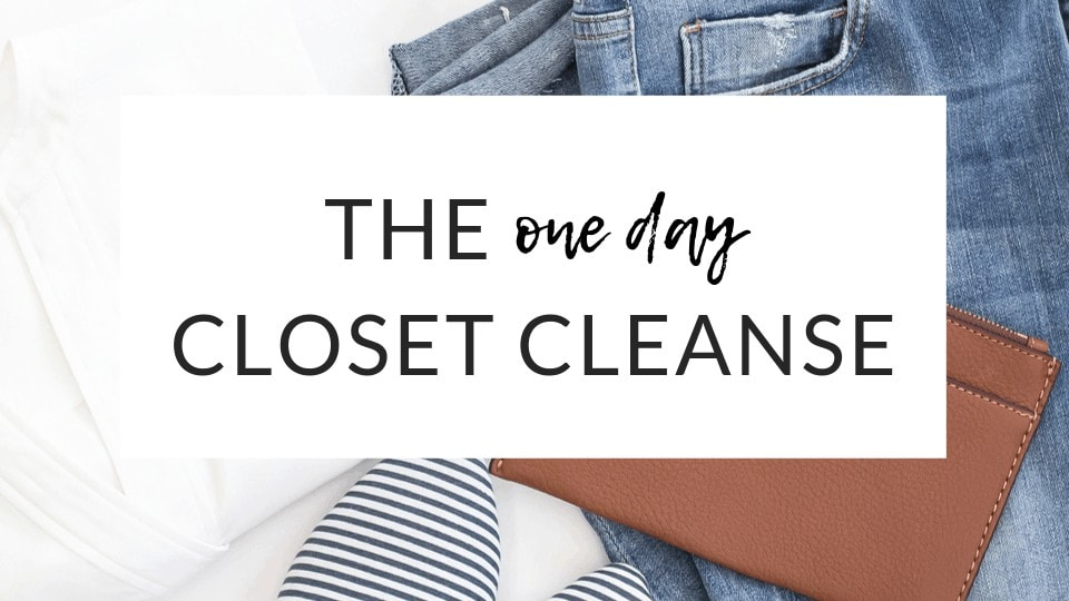 White background with jeans, striped shoes and brown handbag, with a text overlay that reads: The One Day Closet Cleanse