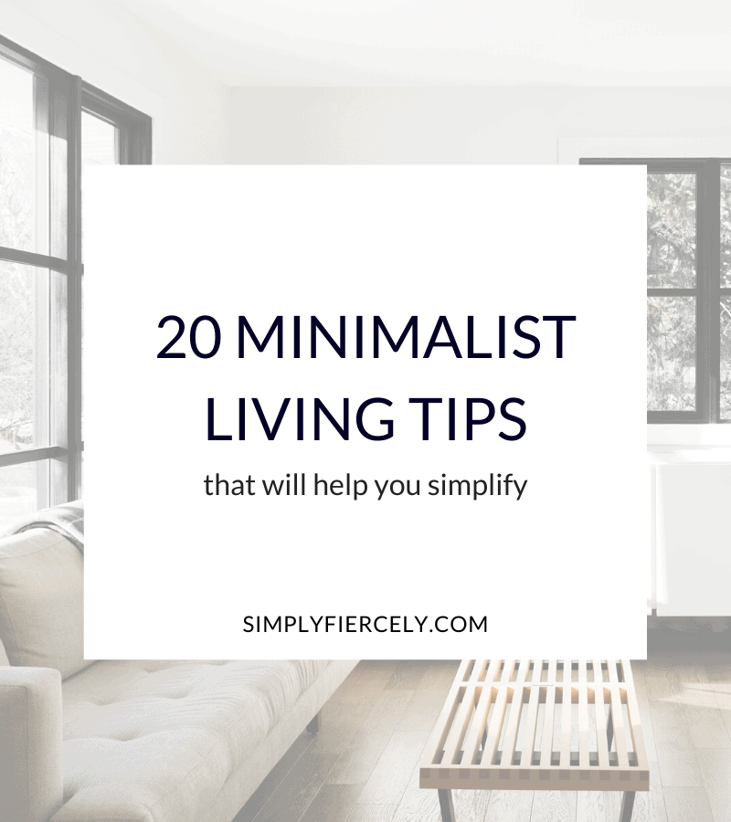 """20 Minimalist Living Tips That Will Help You Simplify"" in a white box with a sofa and coffee table in a minimalist living room in the background."