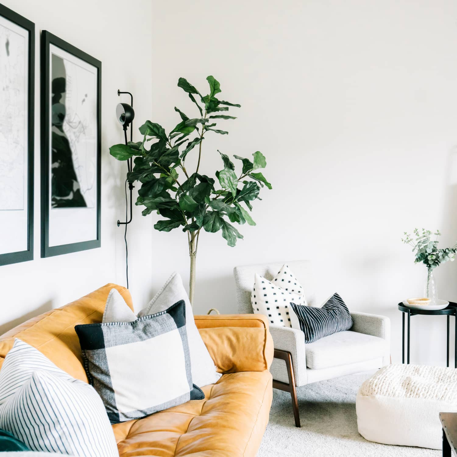 A minimalist living room with a mustard colored sofa, a chair, a plant, and pictures on the wall.
