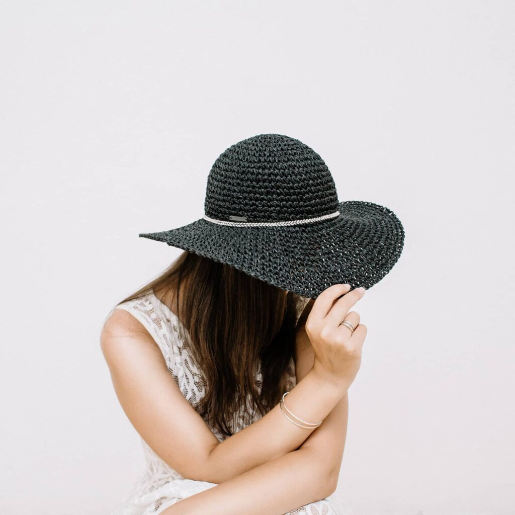 A woman sitting down and pulling the brim of a black hat down over her face