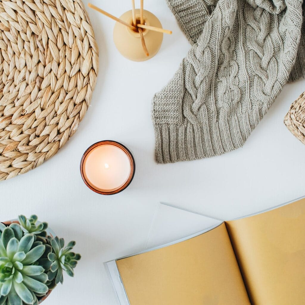 a bright and cozy scene with a sweater, journal, and plant.