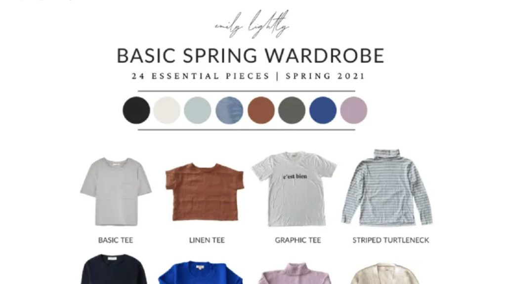 """A partial image of """"Basic Spring Wardrobe - 24 essential pieces Spring 2021"""" with a row of t-shirts at the top."""
