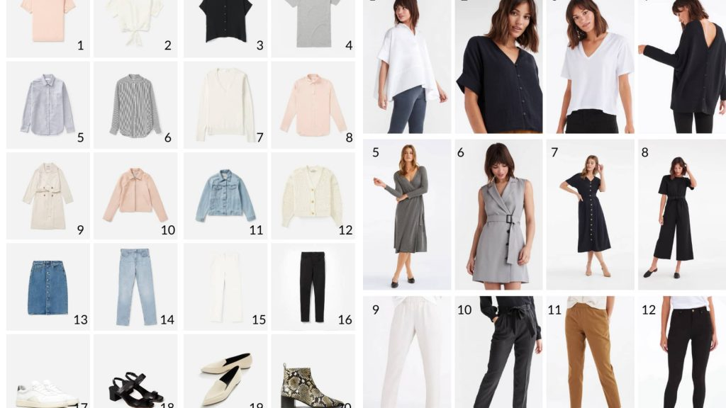 A grid of spring wardrobe essentials. Long sleeved tops, jeans, long skirts, short sleeved dresses, sandals, and tennis shoes.