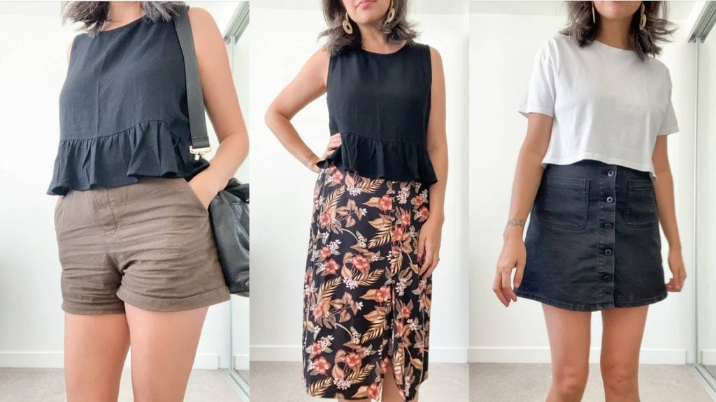 A grid of 3 images of a woman facing the camera wearing spring clothing. Image 1 - taupe shorts and a black sleeveless ruffle top. Image 2 - a black sleeveless ruffle top and a long floral skirt. Image 3 - A white t-shirt and a short denim skirt with buttons up the front.