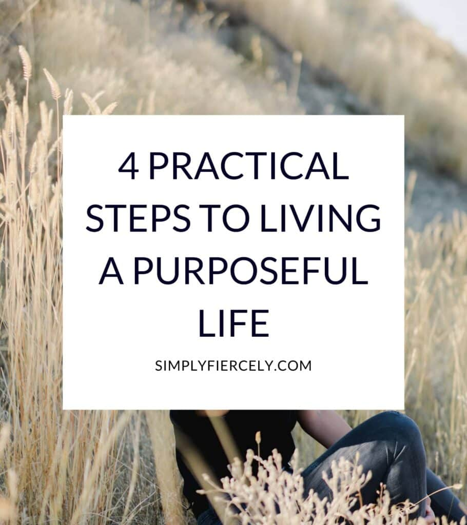 """""""4 Practical Steps To Living a Purposeful Life"""" in a white box with a woman wearing a black top and blue jeans sitting on a hill surrounded by wheat."""
