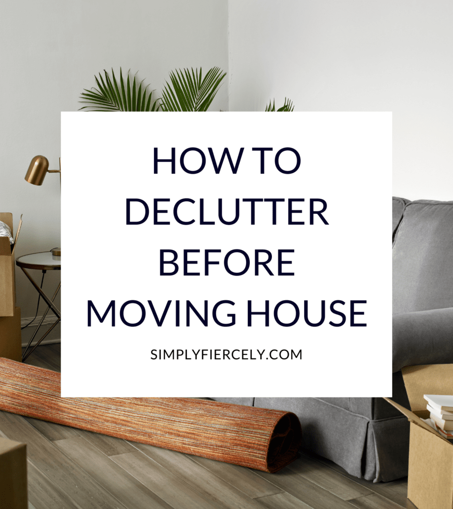 """""""How to Declutter Before Moving House"""" in a white box with a grey sofa, rolled up rug, plant, table with a gold lamp on top, and moving boxes on a hardwood floor."""