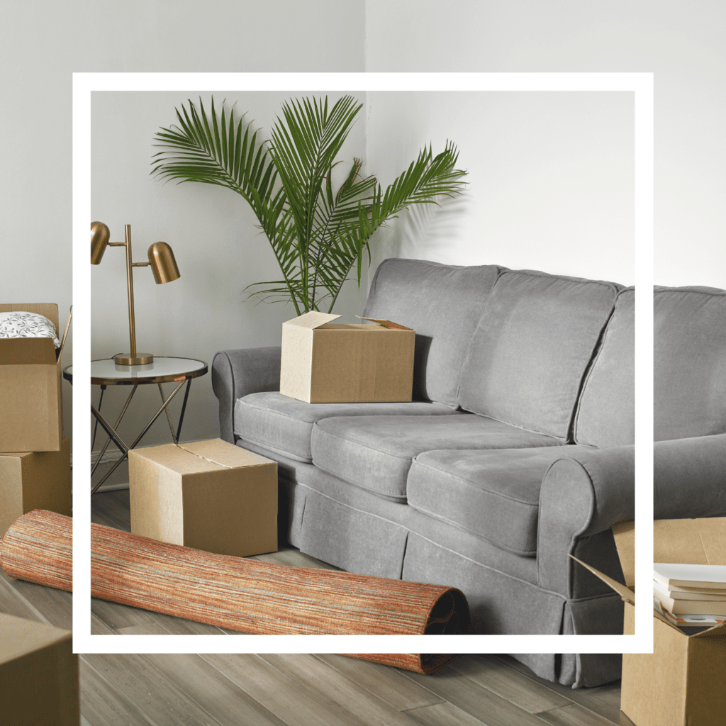 A grey sofa, rolled up rug, plant, table with a gold lamp on top, and moving boxes on a hardwood floor with a white frame overlay.